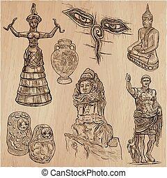 viejo, dibujado, trabajos artísticos, -, mano, vector, freehand, paquete, sketchiing, arte, nativo