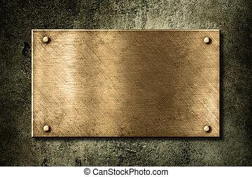 viejo, dorado, o, bronce, placa, en, pared