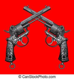 viejo, dos, armas de fuego