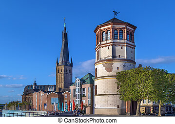 viejo, dusseldorf, lambertus de st, iglesia, castillo, torre