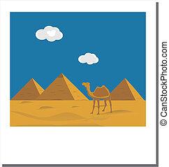 viejo, egipcio, vendimia, famoso, pirámides, foto, señal