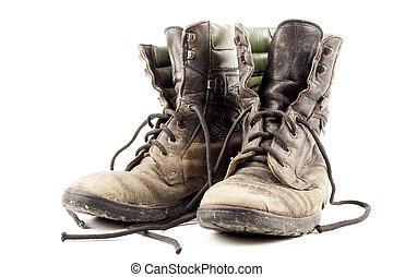 viejo, ejército, botas
