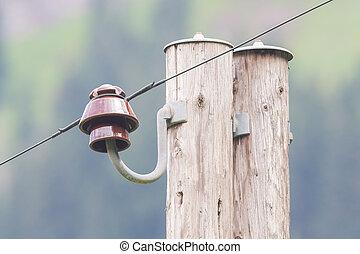 viejo, eléctrico, pilar
