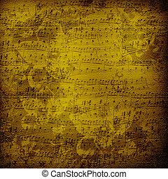 viejo, enajenado, musical, papel, en, scrapbooking, estilo,...