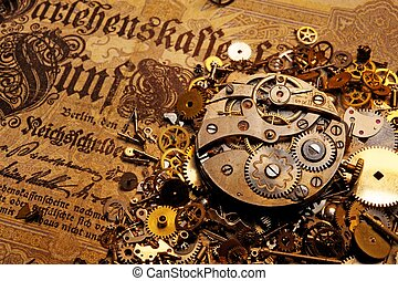 viejo, engranajes, billete de banco