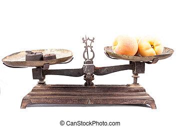viejo, escala, pesar, aislado, fruits