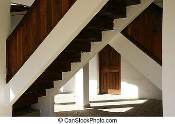 viejo, escalera