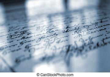 viejo, escritura