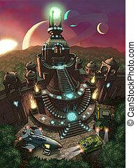 viejo, espacio, templo