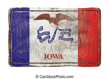 viejo, estado, bandera de iowa
