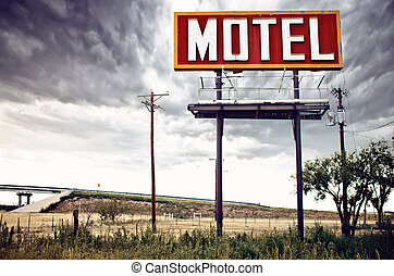 viejo, estados unidos de américa, muestra del motel, 66, ...