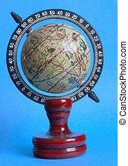 viejo, -, estilo, globo, áfrica, revestida, fondo azul