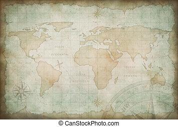 viejo, exploración, y, aventura, mapa el plano de fondo