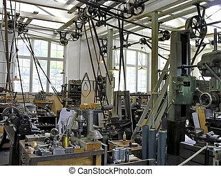 viejo, fabricación, industrial