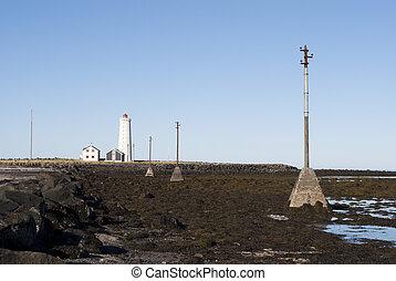 viejo, Faro, postes, telégrafo