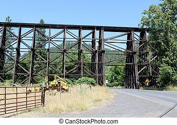 viejo, ferrocarril, de madera, braguero