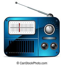 viejo, fm, radio, icono