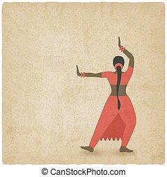 viejo, fondo., club, símbolo, baile, indio, bailarín