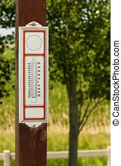 viejo, formado, termómetro