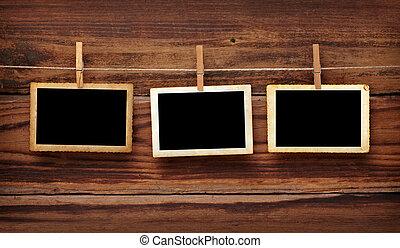 viejo, foto, postal, y, percha, en, madera