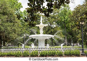 viejo, fuente, en, forsyth, parque