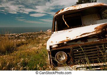 viejo, furgoneta, abandonado