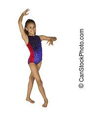 viejo, gimnasia, año, 8, niña, posturas