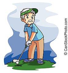 viejo, golf, juego, hombre