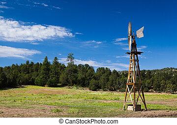 viejo, granja, molino de viento