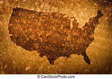 viejo, grunge, mapa, de, los estados unidos de américa
