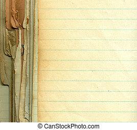 viejo, grunge, papel, con, líneas