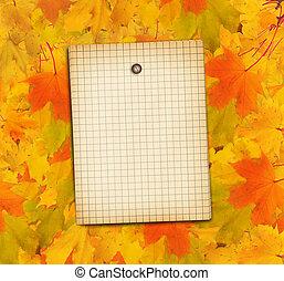 viejo, grunge, papel, con, otoño, arce, rama, hojas