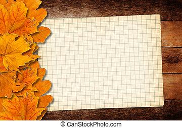 viejo, grunge, papel, con, otoño sale, en, el, de madera, plano de fondo