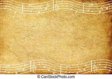 viejo, grunge, papel, y, nota música, con, espacio
