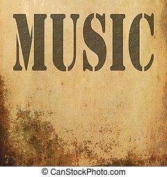 viejo, grunge, plano de fondo, música