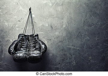 viejo, guantes de boxeo, cuelgue, en, clavo, en, textura,...
