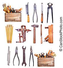 viejo, herramientas, aislado, blanco, plano de fondo