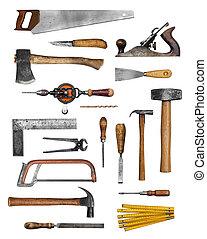 viejo, herramientas, carpintero, mano