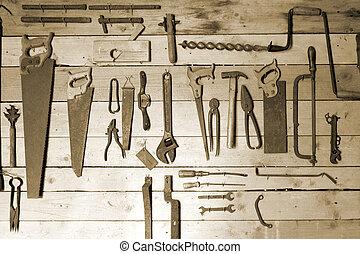 viejo, herramientas manuales