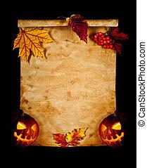 viejo, hojas,  Halloween, calabaza, otoño, papel