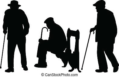 viejo, hombres, con, bastón
