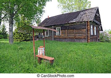 viejo, hoyo, en, abandonado, aldea