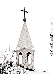 viejo, iglesia país, aguja