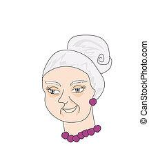 viejo, ilustración retrato, vector, dama