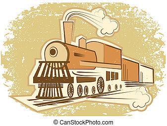 viejo, ilustración, vapor, vector, engine., locomotora