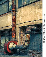 viejo, industrial, aire, dibujo