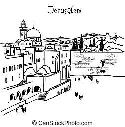 viejo, israel, jerusalén, contorno, ciudad