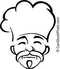 viejo, japonés, chef, con, un, perilla, y, bigote