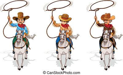 viejo, joven, uno, dos, vaqueros