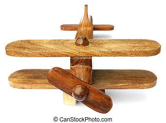 viejo, juguete de madera, avión, aislado, blanco, plano de fondo